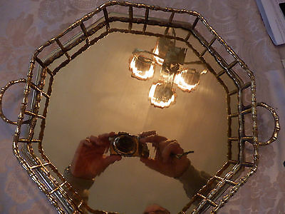 """Octagon Brass Serving Tray With Handles 11.5"""" X 2"""" Solid Brass New In Box"""