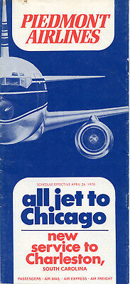 Piedmont Airlines April 26, 1970 System Timetable, all-jet and jet-prop