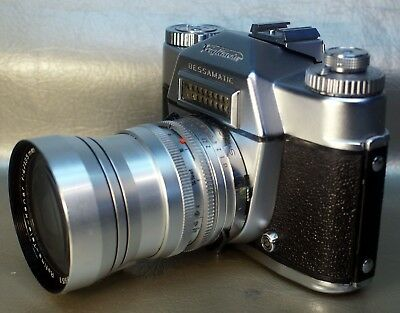 This auction is for a vintage Voigtlander Bessamatic camera with two lenses.
