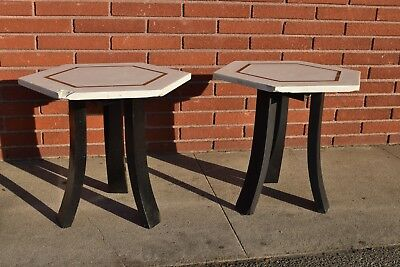 Vintage Mid Century Modern Harvey Probber Side Tables With Brass Detail