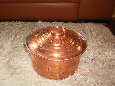 Vintage Decorative Hand Beaten Copper Plated Cooking Pot