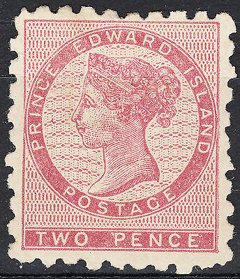 PEI 1861 2d dull rose QV perf 9, Scott 1, VF MH OG, catalogue - $2,000