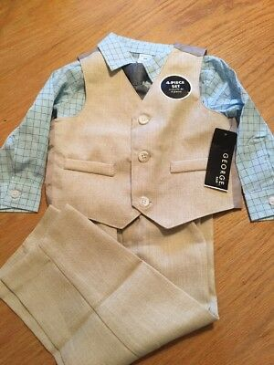 Infant Boys George 4-Piece Suit Vest Shirt Pants Tie Set Size 18M  Beige (E1)