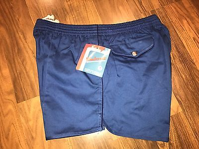 NEW Vtg 70s 80s Windcrest BLUE Stripe Mens MEDIUM Tennis Track swim shorts 34 36
