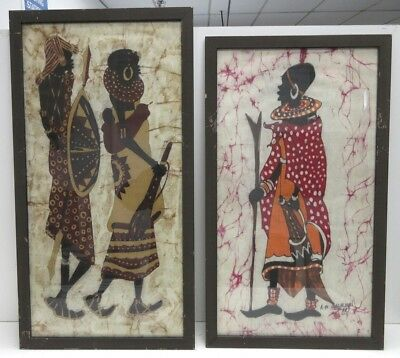 East African Hand Made Batik Figures One Signed A.N. Wagacha Lot Of (2) Framed