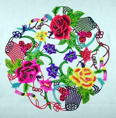 """Oriental Chinese Painting Cut Paper Art-Fragrant Peony Good Fortune 10x10"""""""