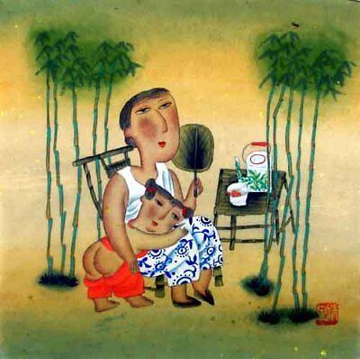 """Oriental Chinese Brush Painting Figures Ink Art-True Love Mother&Daughter 13x13"""""""