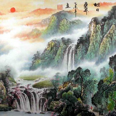 """Oriental Chinese Painting Ink Huge Art-Home in the Mountain Peaceful Life 19x19"""""""