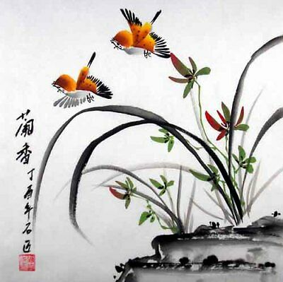 """Oriental Chinese Brush Painting Ink Art-Graceful Orchid Birds Lover 13x13"""""""