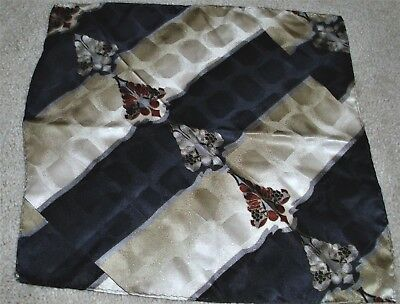"""100% silk hand rolled navy blue ivory multi color print pocket square 10""""x10"""""""