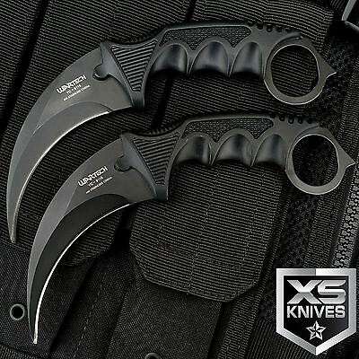 2pc TACTICAL COMBAT KARAMBIT KNIFE Survival Hunting BOWIE Fixed Blade w/ SHEATH