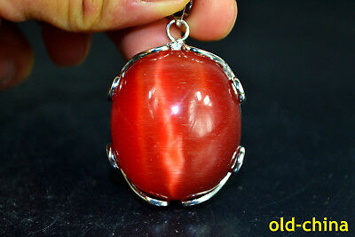 China Style wonder Old Jade handwork 925 silver Noble big Pendant nice