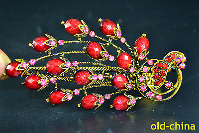 China Collectible Decor Handwork Old brass inlay red peacock handwork hairpin