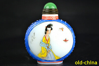 China Collectible Old Glassware Coloured Painting belle butterfly Snuff Bottle