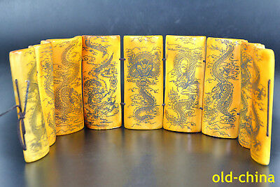 handwork China Collectible Old 0-x b0ne painting dragon statue book big