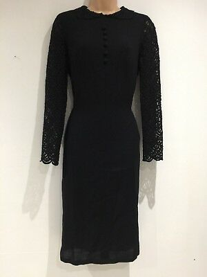 Vintage 60's Mod Black Pure Wool Lace Sleeve Evening Party Shift Dress 12-14