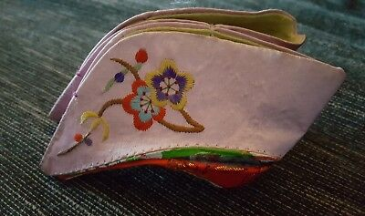 Antique Chinese Embroidered Silk Small Lotus Bound Feet Child's Shoes
