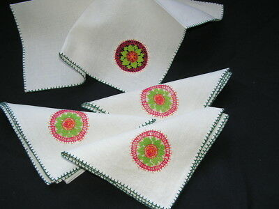 4 Beautiful Vintage Colourful Delicate Hand Worked Lace Linen Table Napkins