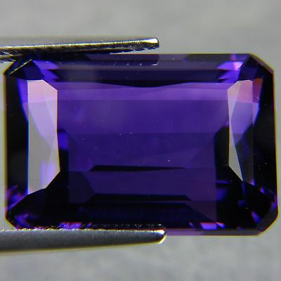 14x10mm OCTAGON-FACET DEEP-PURPLE NATURAL AFRICAN AMETHYST GEMSTONE (APP £110)