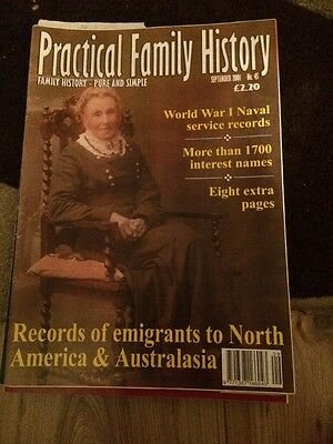 Practical Family History Mag Sept 2001 Records Of Emigrants To N American & Aus