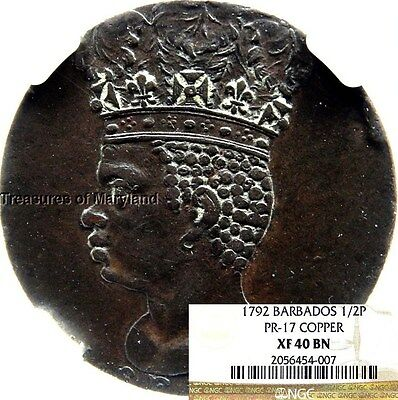 NGC XF40 1792 Barbados Neptune & Chariot Slavery 1/2 Penny (NGC Pop 3) #4007