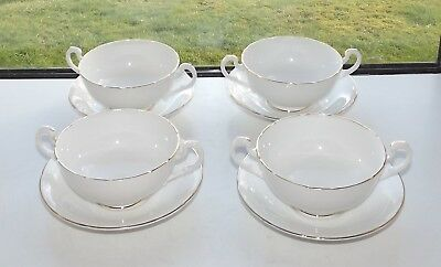 Royal Standard English Bone China 4 x Soup Bowls and Stands White With Gilt Trim