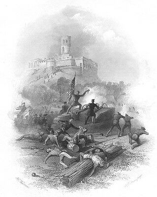 Mexico MEXICAN AMERICAN War BATTLE OF CHAPULTEPEC ~ Old 1856 Art Print Engraving