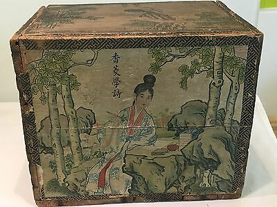 Antique Chinese Hand Coloured Paper Covered Wooden Tea Box