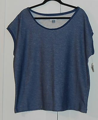 Women's Old Navy Blue Marled French-Terry Top - Size Xlarge