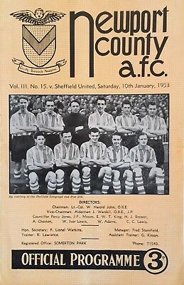 Newport County v Sheffield United  F A Cup  1952/53