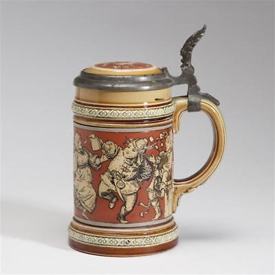 Mettlach 2057 3/10L stein with etched celebration scene. Lot 519