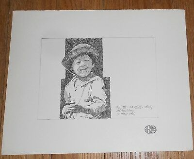 Original Ink Drawing by Harry E Buckley - signed - Boy XII