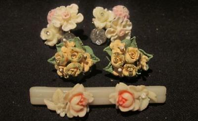 Floral Pierced Earrings 2 Vintage Pair Plus Vintage Brooch or Collar Bar