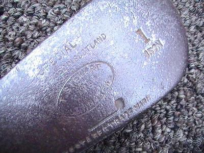 Very Rare ANTIQUE TOM STEWART SPECIAL LINED FACE WOOD SHAFT 1 IRON SW C8 20*