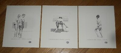3 Original Ink Drawings by Harry E Buckley - signed - At the Beach XIX Study III