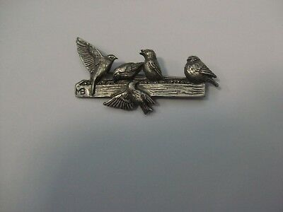 Marjolein Bastin Pewter Pin - Birds on Feeder
