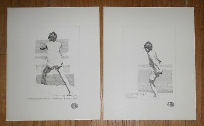 2 Original Ink Drawings by Harry E Buckley - signed - At the Beach XIX Study V