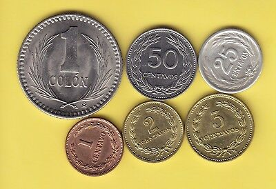 El Salvador  small lot 6 coins, all uncirculated