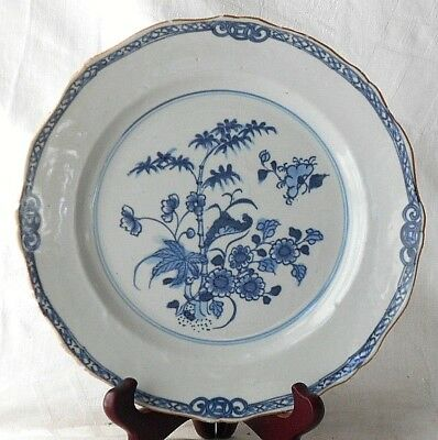 C18Th Chinese Blue And White Plate With Bamboo And Flowers Within A Border