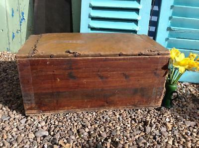 Antique Pine Chest Trunk Storage Solid Requires Some Cosmetic TLC Rustic Chic
