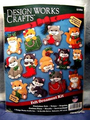 Holiday Cats Beaded Felt Embroidery Christmas Ornament Kit 13 Kittens Kitties