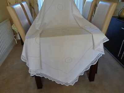 Vintage White Cotton, Lovely Hand Made Lace Trim Embellished Tablecloth  VGC