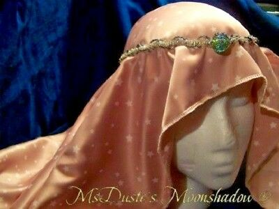 * Hand Crafted REN SCA Veil Snood ONLY Costume Pink Stars Rayon