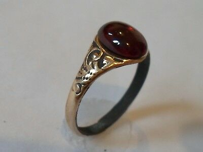A Genuine & Beautiful ,detector Find,200-400 A.d Roman Ae Ring W/ Real Gemstone.