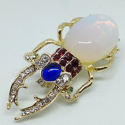 ALI LANG Signed BEETLE BUG BROOCH PIN Rhinestone Jelly Belly Insect Gold Tone