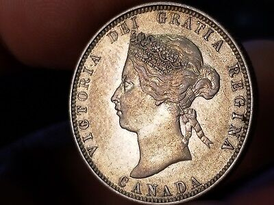 1874 H Canadian Silver 25 Cents Beautiful Coin !!