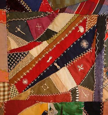 Large Old Crazy Quilt with Hand Embroidery, restoration begun