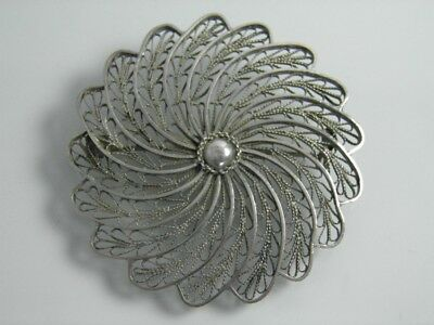 Antique Middle East Palestine silver filigree brooch pin