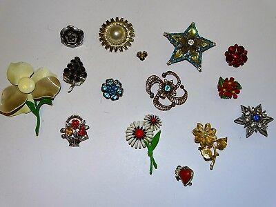 Vintage Lot Of 15 Fancy Floral Style Brooches / Pins Rhinestone Enamel More