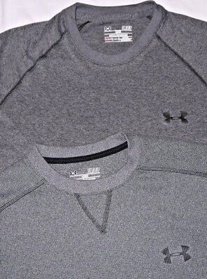 Mens Lot of 2 Gray UNDER ARMOUR Technical Heat Cold Gear L/S Baselayer Shirt S